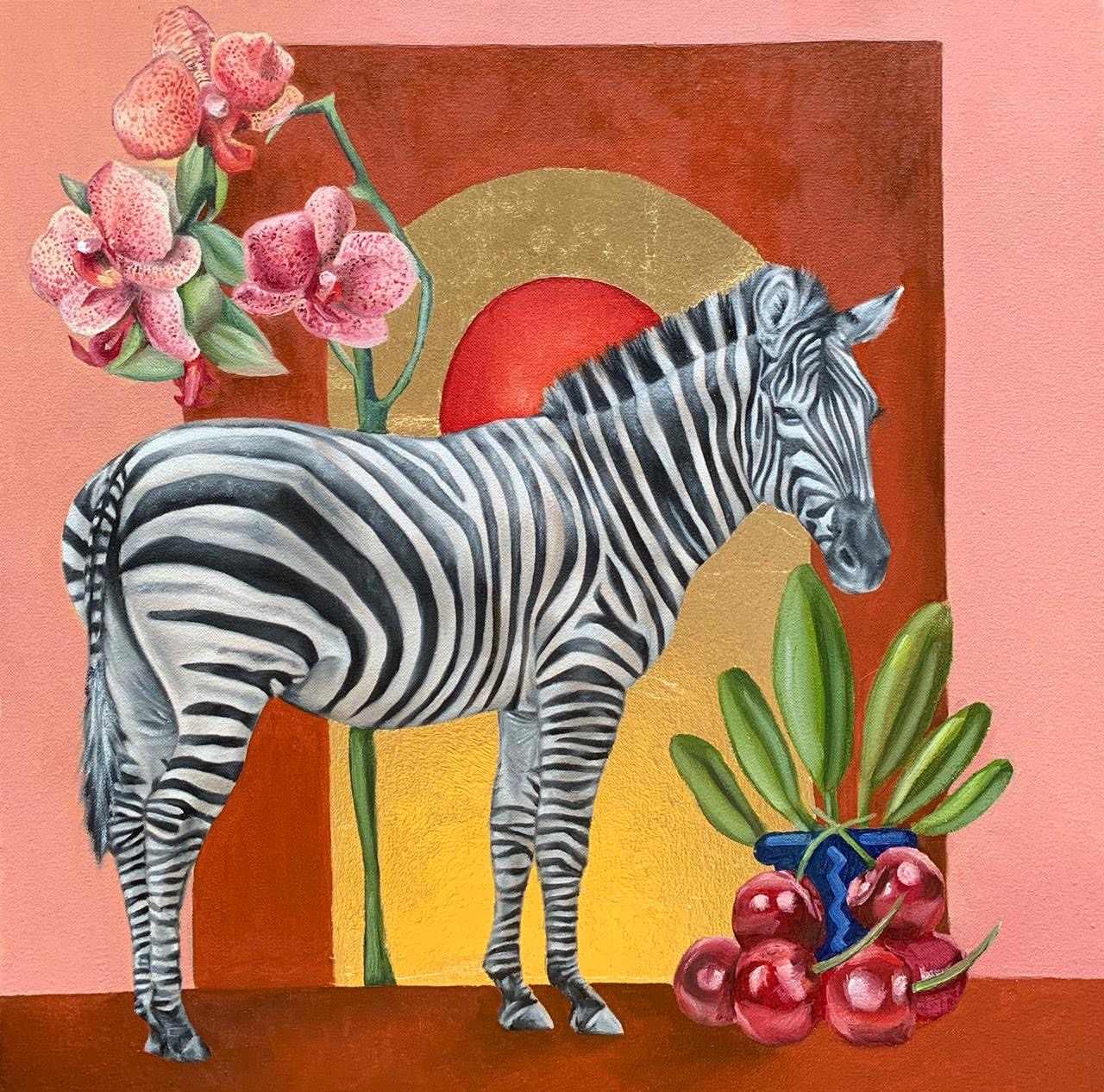 """Tanya Shah<br></br>""""Still Life""""<br></br>Oils and Gold Leaf on Canvas<br></br>18x18 inches"""