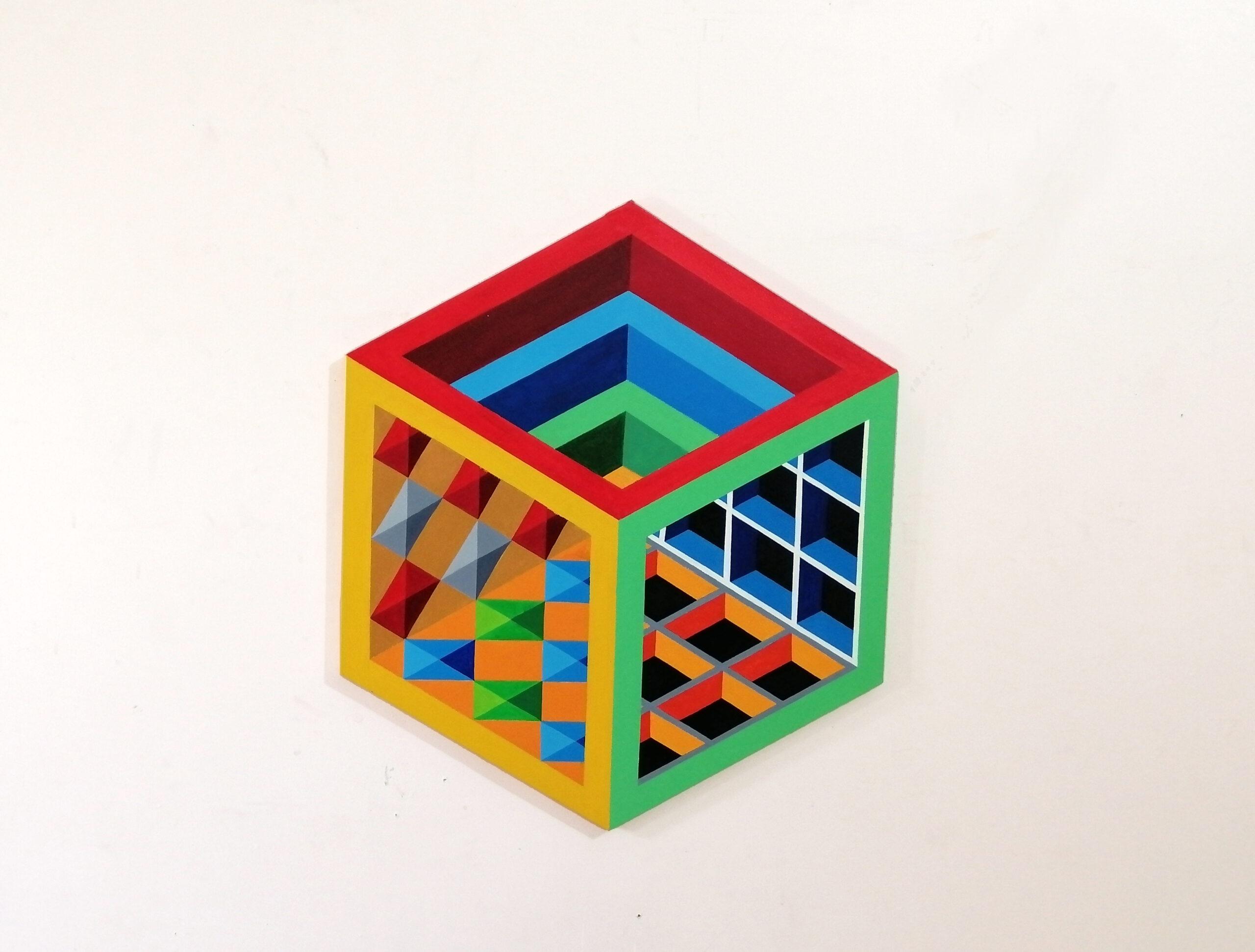 "Obaid Ur Rahman<br></br>Inside Out<br></br>Acrylics on Canvas<br></br>12""x12""x12"" (hexagon)"