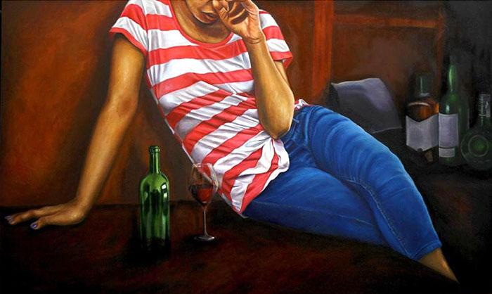 "ERUM AKHTAR<br></br>Untitled II<br></br>42"" X 42""<br></br>oil on canvas<br></br>2019"