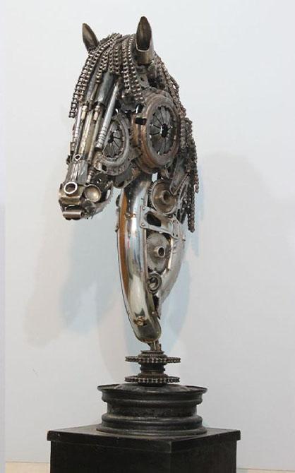 HINA, SEHRISH & HABIBA<br></br>Metal Sculpture<br></br>automobile spare parts<br></br>2019