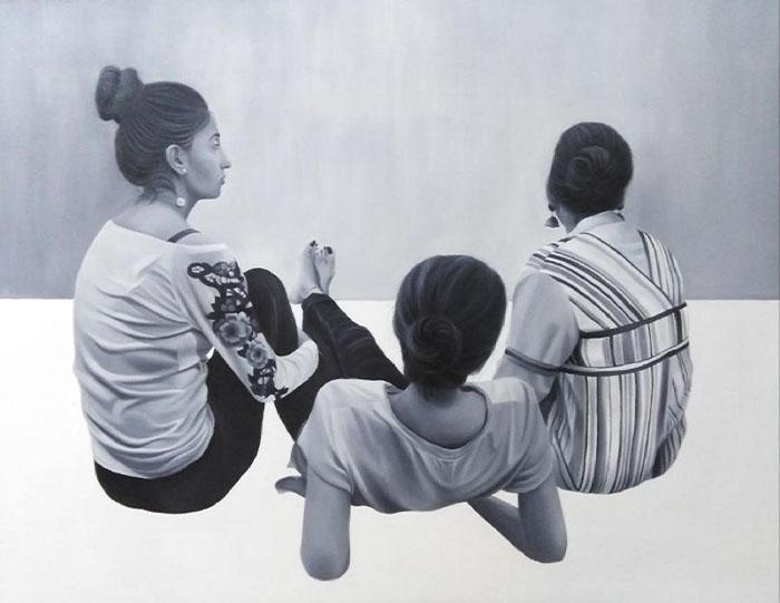 ZAINAB AZIZ<br></br>oil on canvas<br></br>52 X 40 inches<br></br>2019