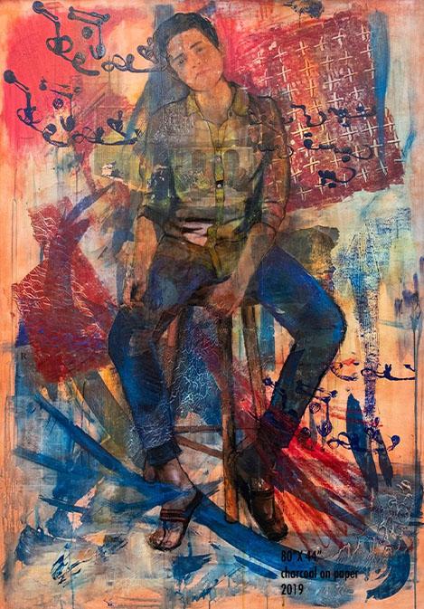"""AMBER ARIFEEN<br></br>Sarah<br></br>44""""X62""""<br></br>mix media on canvas<br></br>2019"""