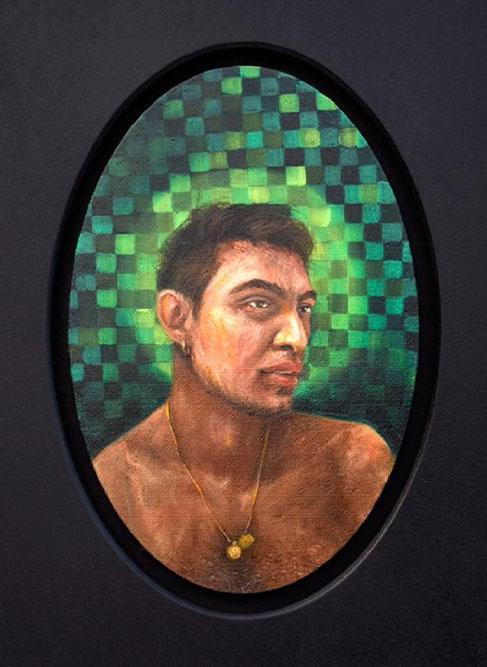AMRA KHAN<br></br>The Lovers 1<br></br>30cm X 20 cm (each)<br></br>oil on canvas