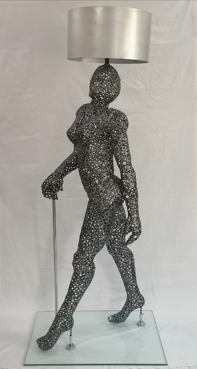 Usman Hussain<br></br>Untitled – Duals as Floor Lamp<br></br>Metal Washes, Steel, Glass<br></br>78x32x24 inches