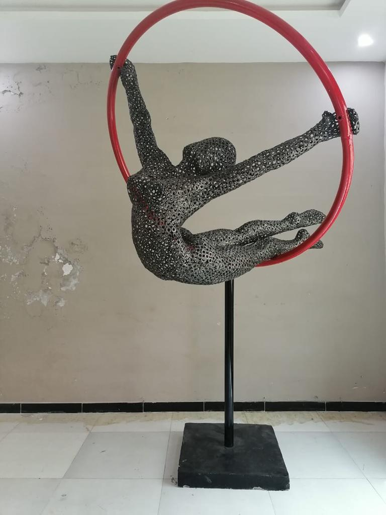 Osman Hussain<br></br>Untitled 1<br></br>Iron, Enamel and Concrete Base<br></br>94x54 inches