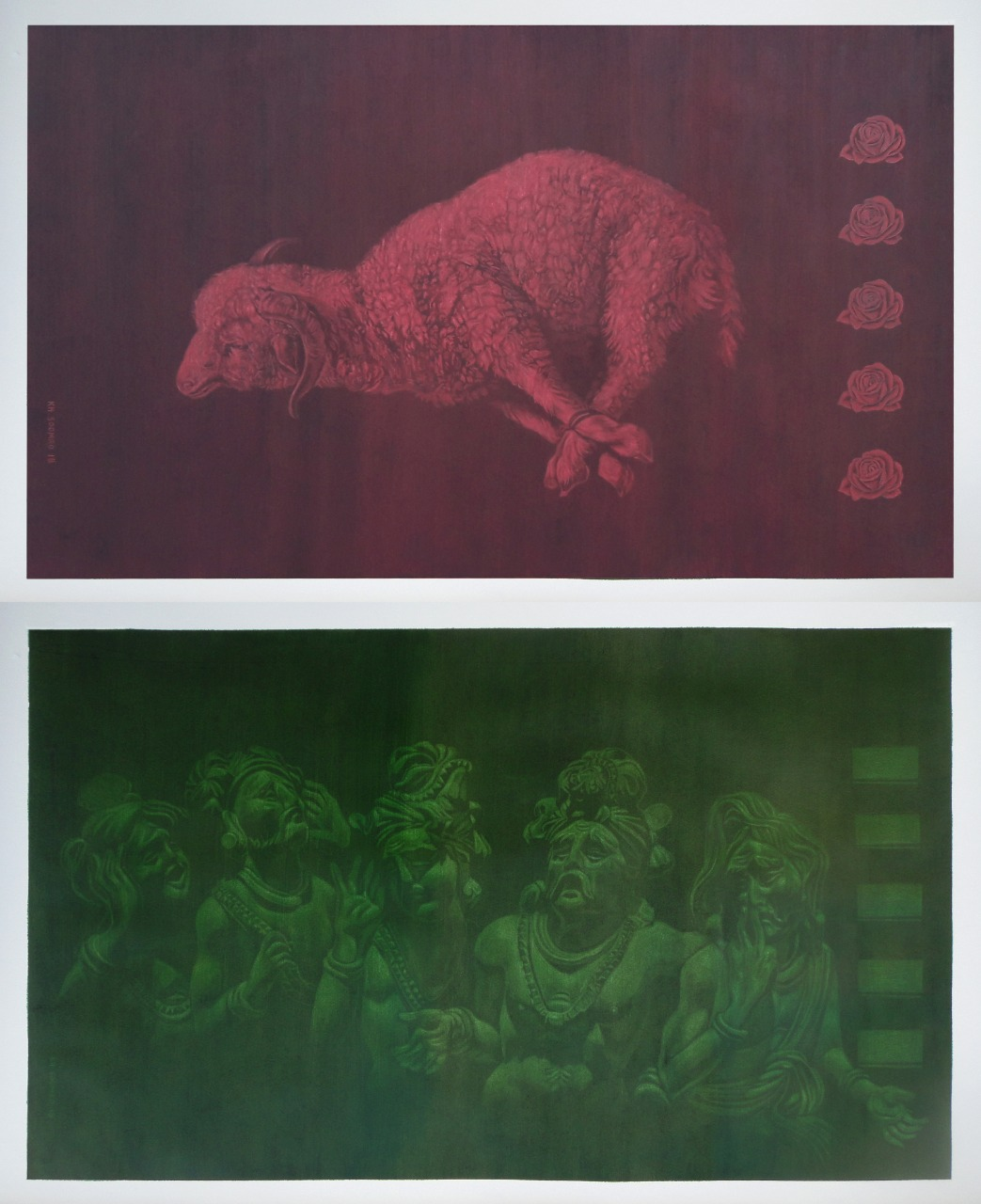 Khalid Soomro<br></br>Sacrifice (diptych)<br></br>Charcoal eraser drawing on montval sheet<br></br>30x30 inches
