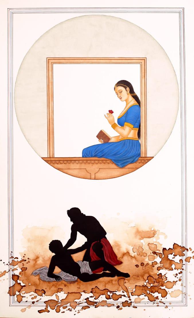 Rizwan Ali<br></br>Untitled<br></br>Gouache, Tea Wash, & Powdered Gold on Wasli<br></br>Paper<br></br>20.5x13 inches