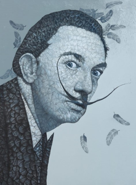 Title: Dali in Feathers<br></br>Size: 36x48 Inches<br></br>Medium: Oil & Acrylic on Canvas