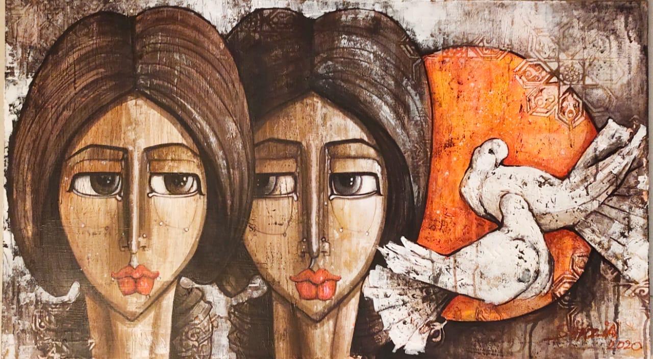 Shazia Salman<br></br>Untitled 3<br></br>Acrylics On Canvas<br></br>24x42 inches