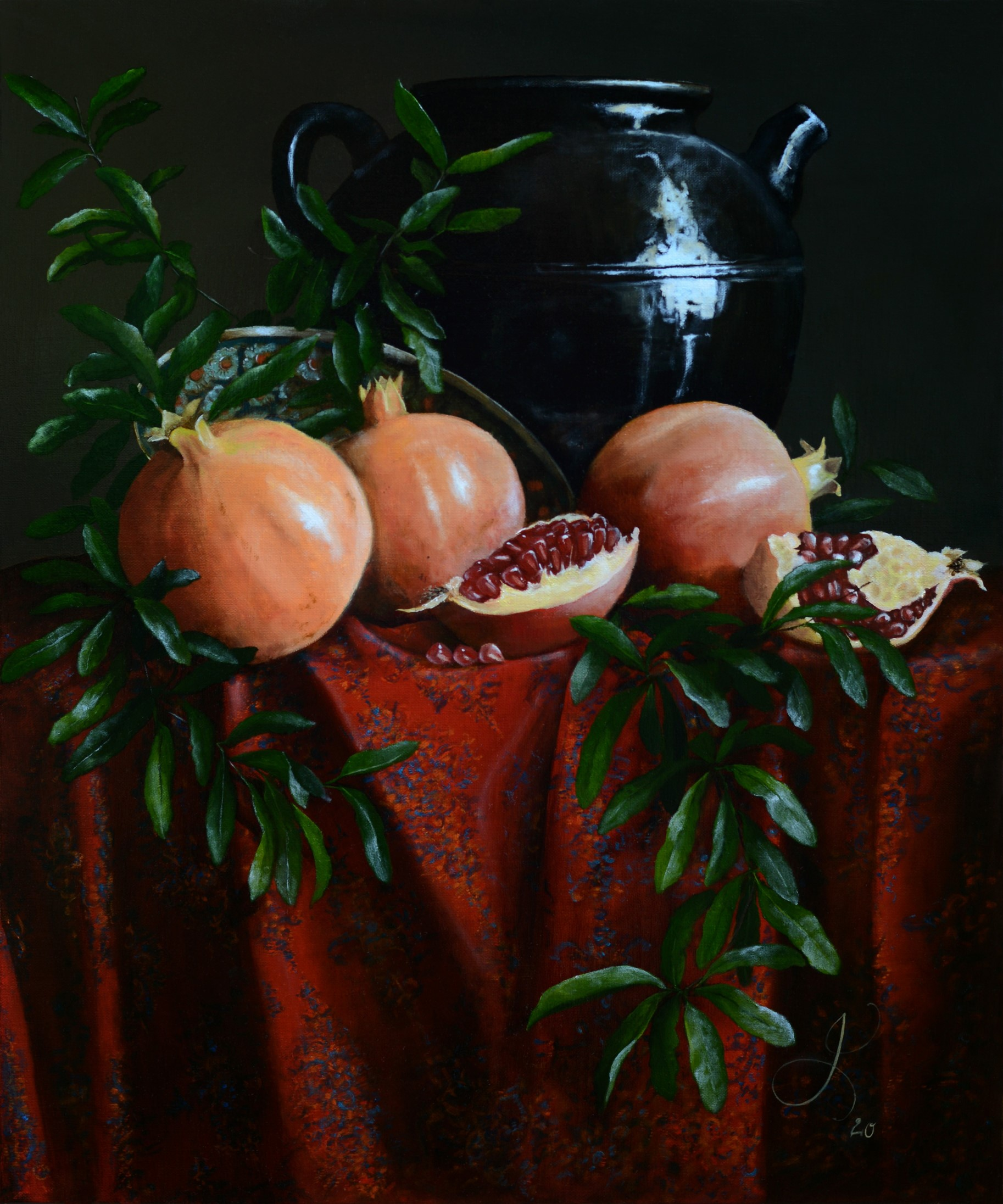 Still life with Pomegranates and Kashmir Shawl – 2020<br></br>Oil on linen<br></br>60X50 cm