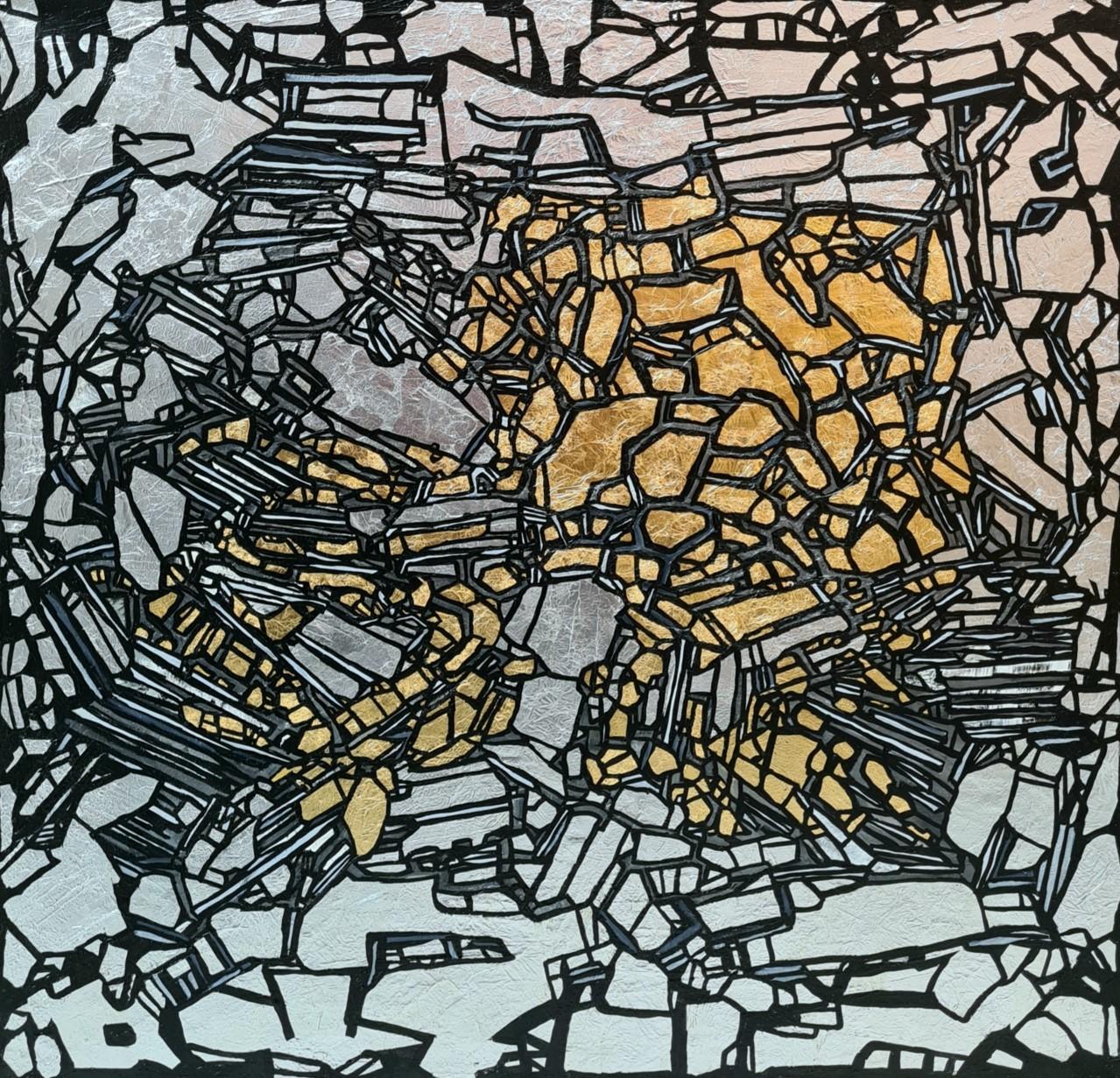 Tectonicus V<br></br>Size: 36 x 36 inches<br></br>Medium: Silver Leaf, Gold leaf & Acrylic on Canvas