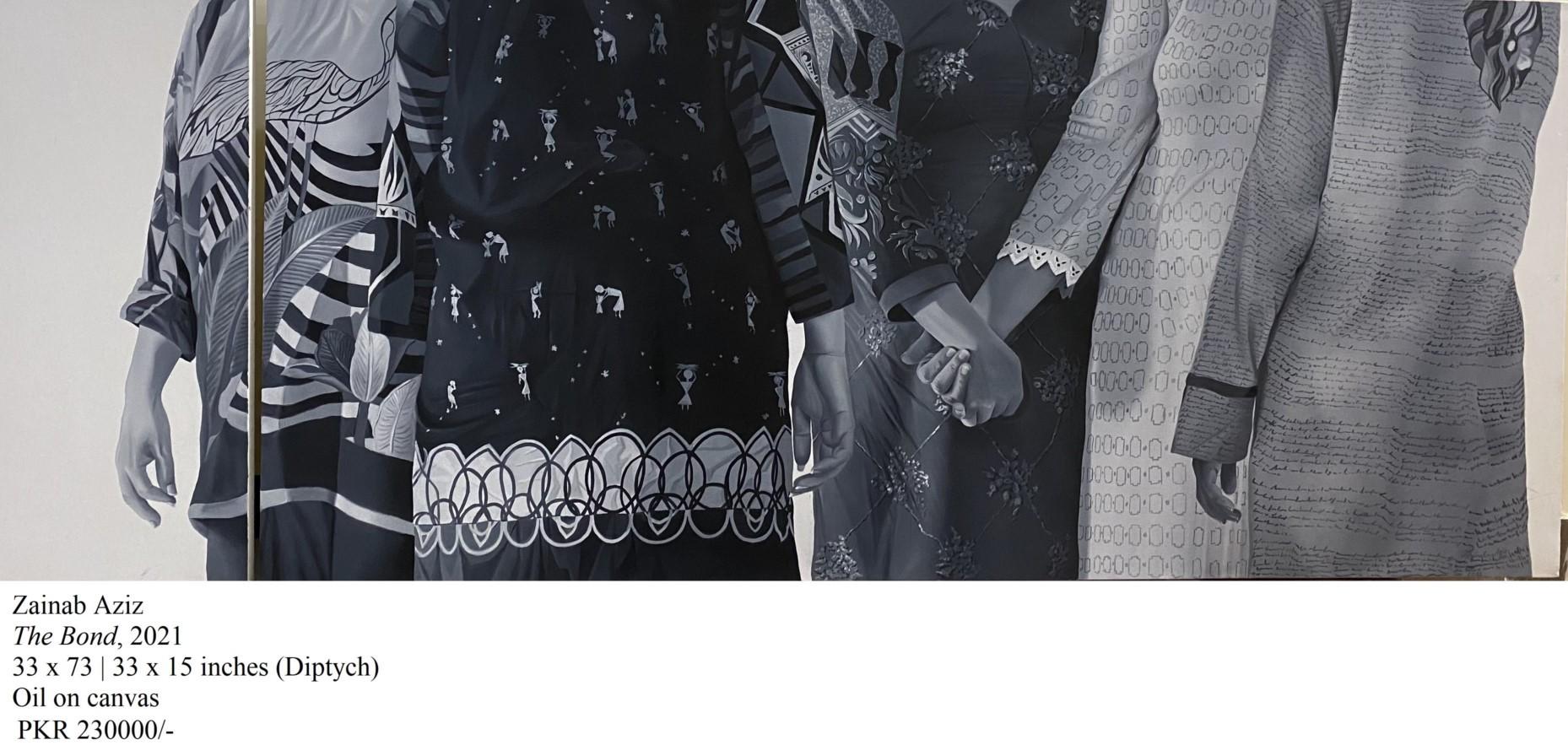 Zainab Aziz<br></br>The Bond,2021<br></br>33x73   33 x 15 inches (Diptych)<br></br>oil on canvas