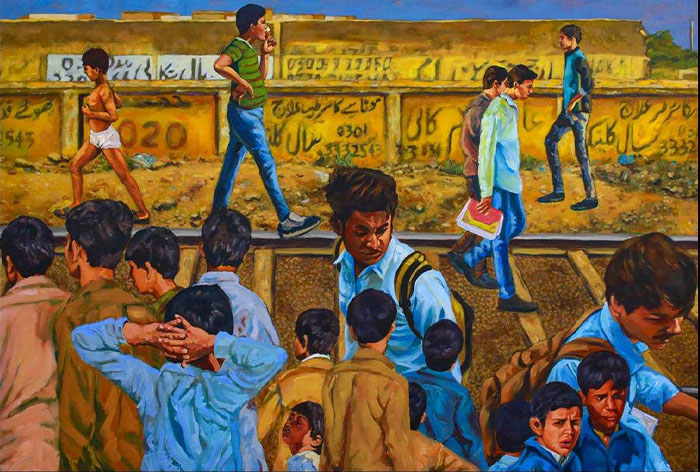 """JAHANZEB HAROON<br></br>TIP TOP,THE LITTLE HOP OF BUSY BOYS<br></br>ACRYLIC ON CANVAS<br></br>54""""X36""""<br></br>2018"""