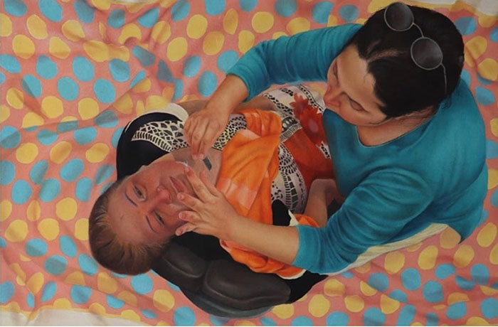 """Marium Arshad<br></br>Untitled<br></br>Oil on Canvas<br></br>12""""x35"""" inches"""
