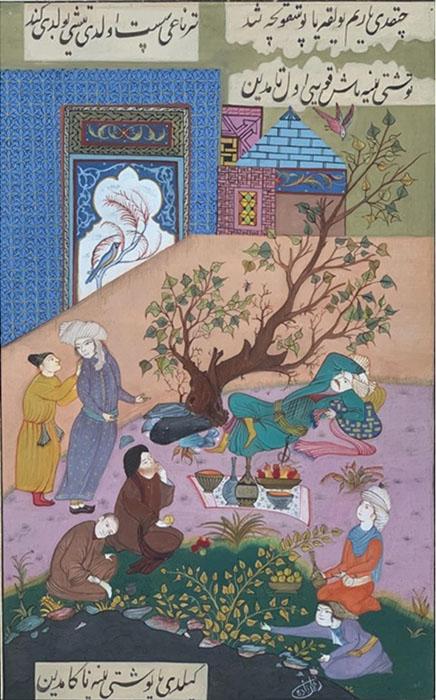 Rahman Zada<br></br>'Timur King and Ant'<br></br>Gauche on Wasli<br></br>17.5x14.7 inches