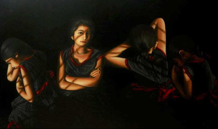 SANA SAEED<br></br>COME AGAIN SOME OTHER DAY<br></br>3'X4'<br></br>OIL ON CANVAS