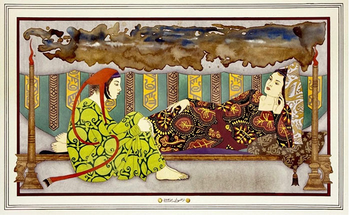 Rizwan Ali<br></br>'Gossips'<br></br>Gouache, tea wash, gold leaf andpowdered gold on wasli (framed)<br></br>11.75x19.25 inches