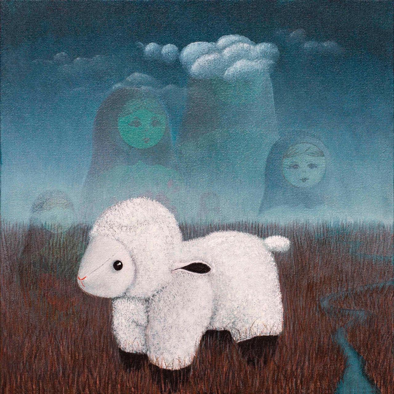 Irfan Gul Dahri<br></br>'The Lamb Story<br></br>'Acrylics on Canvas<br></br>12x12 inches