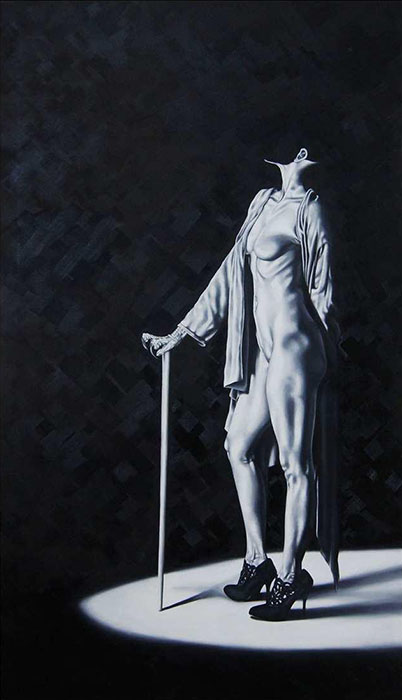 """SCHEHEREZADE JUNEJO<br></br>MUTE-ANT54""""X30""""OIL ON CANVAS<br></br>2018"""