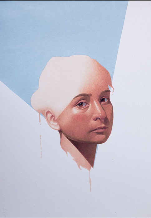IRFAN HASAN<br></br>Head of a girl<br></br>Opaque watercolor on paper<br></br> 15 X 23 inches<br></br>2019