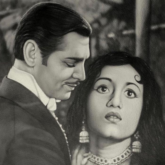Farhat Ali'<br></br>Clarke Gable & Madhubala<br></br>Indian Ink on Paper (Framed)<br></br>12x12 inches