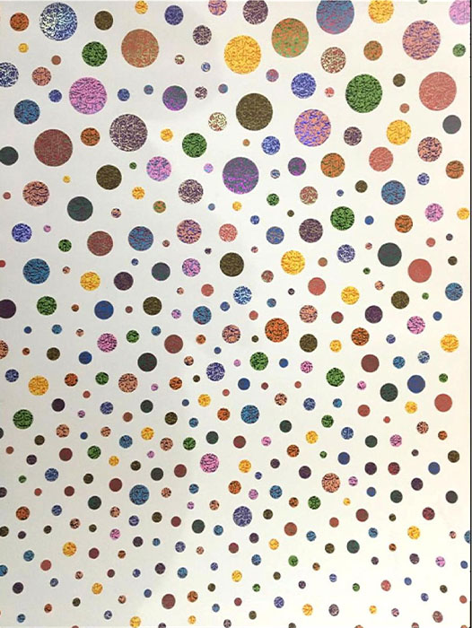 SHIBLEE MUNIR<br></br>Halaal artwork by Damien Hirst<br></br>mix media on white glazed paper<br></br>40 x 60 inches<br></br>2019