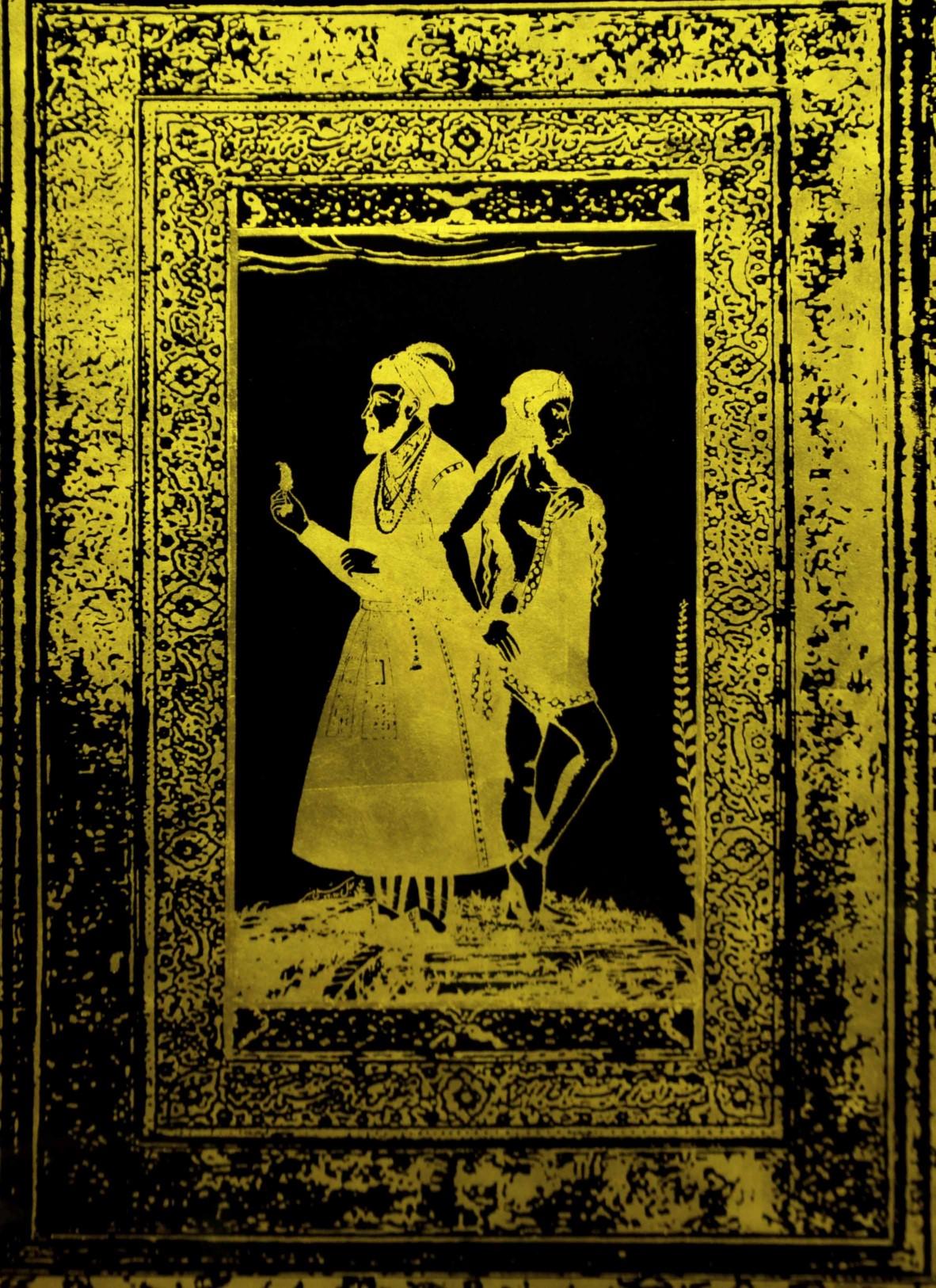 Title: The golden history of falsehood1.<br></br>Medium gold leaf on black coated paper<br></br>Size 40x55 inches