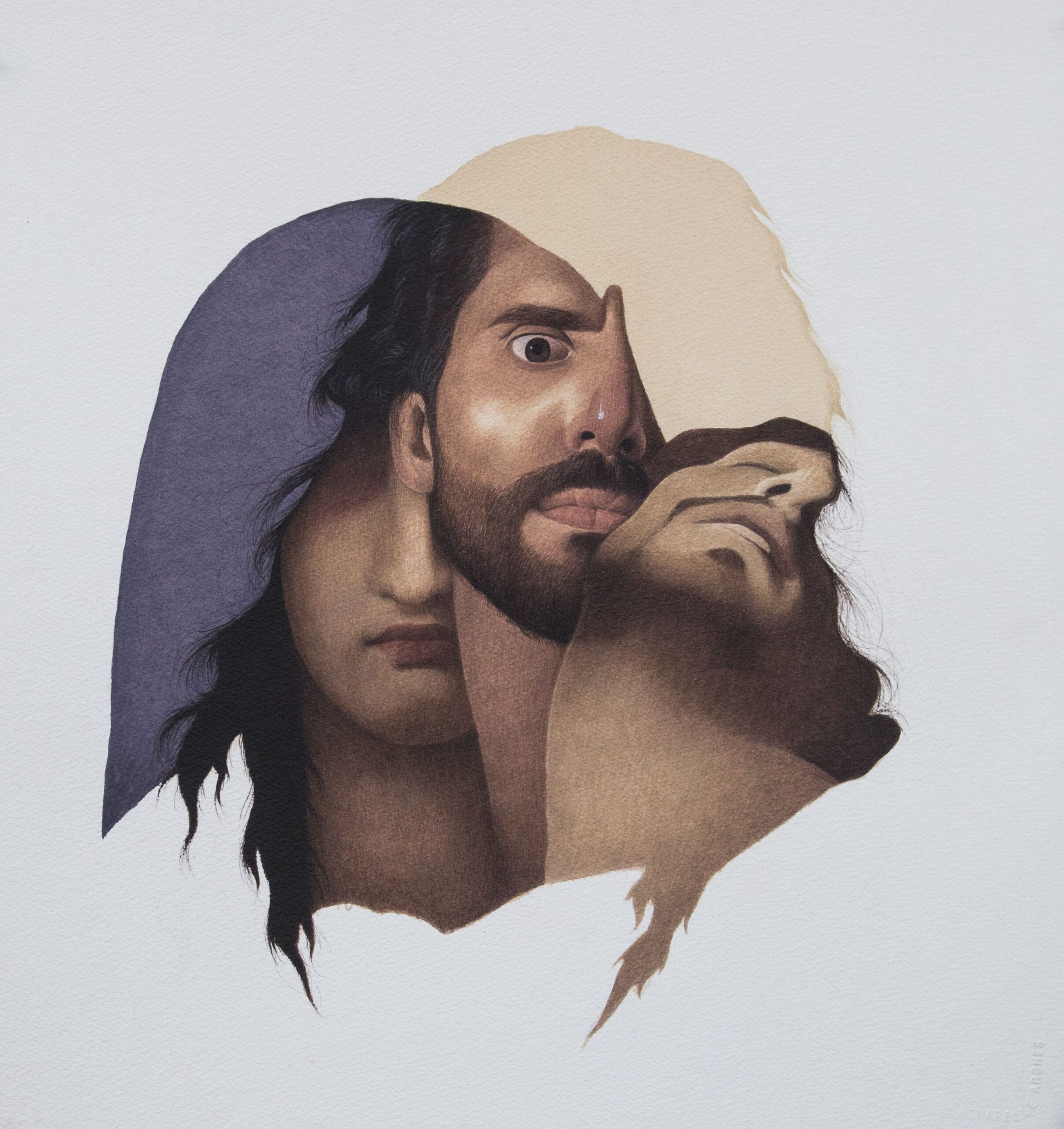 Title: Pieta<br></br>Medium: Opaque water colour on paper<br></br>Size: 18.5 x 19.5 inches