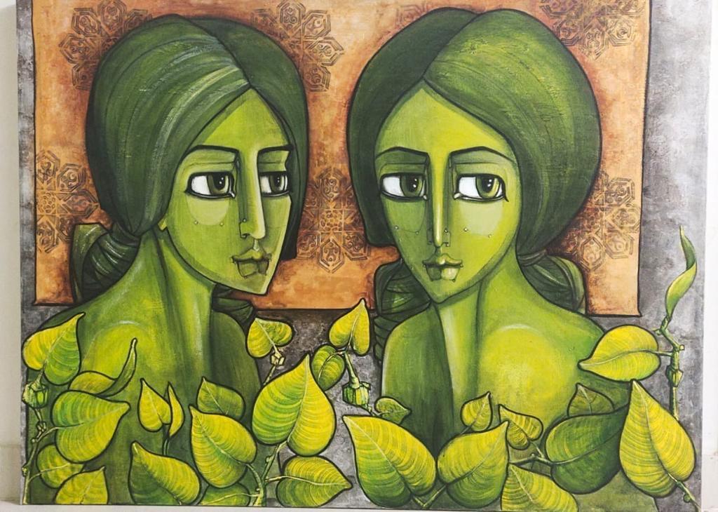 Shazia Salman<br></br>Untitled 1<br></br>Acrylics On Canvas<br></br>36x48 inches
