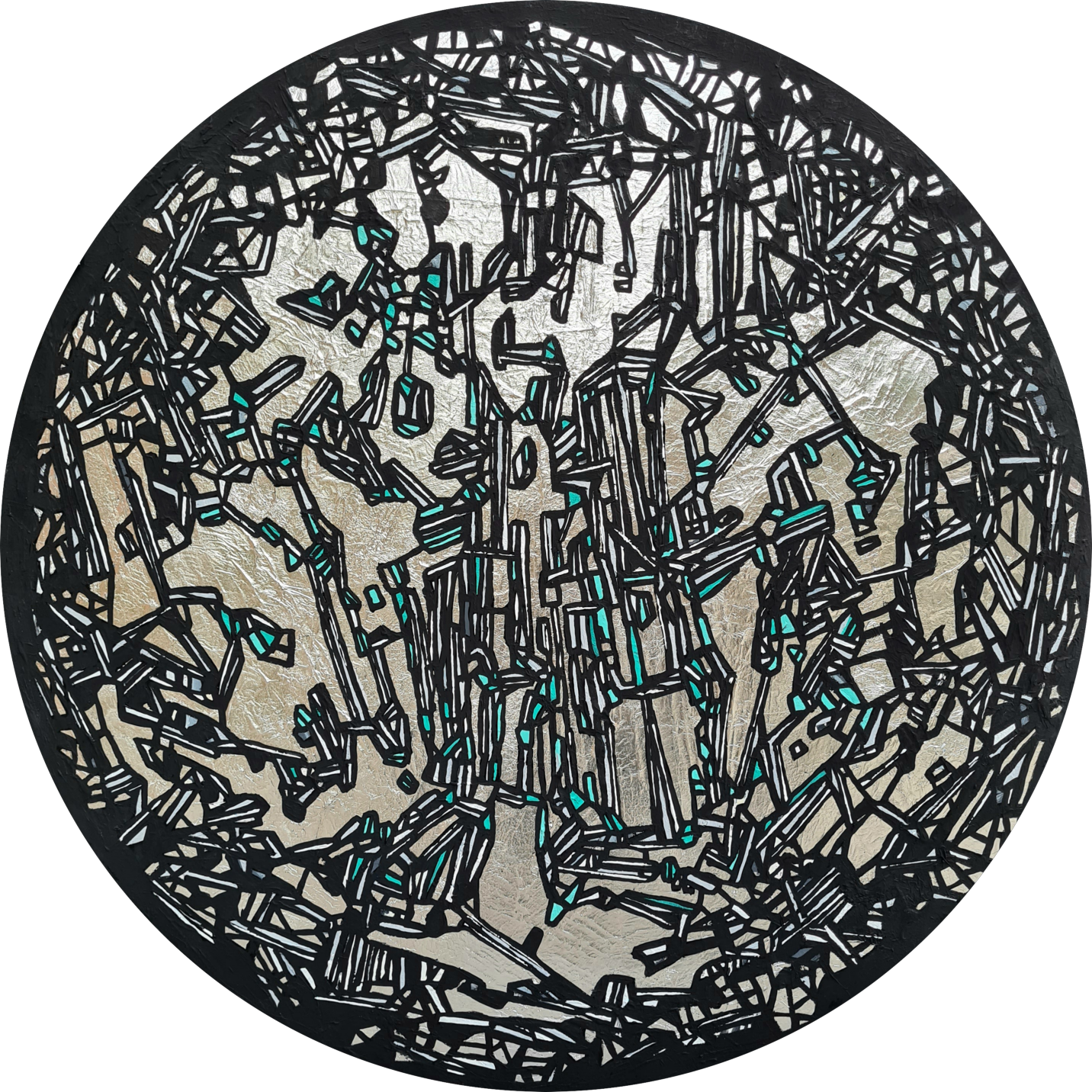 Tectonicus II<br></br>Size: 36(Diameter)<br></br>Medium: Silver-leaf & Acrylic on Canvas